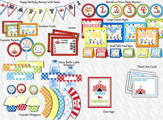 Carnival Birthday Party Personalized Circus by