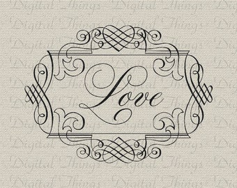 Love Script Valentines Day Wall Decor Art Printable Digital Download for Iron on Transfer Fabric Pillows Tea Towels DT1338