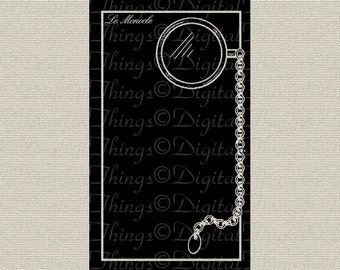 French Script Monocle Silhouette French Decor Printable Digital Download for Iron on Transfer to Fabric Pillows Tea Towels DT1060