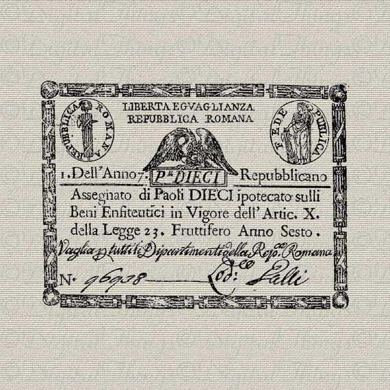 Vintage French Paper Money Italian French Decor Wall Decor Art Printable Digital Download for Iron on Transfer Fabric Pillow Tea Towel DT642