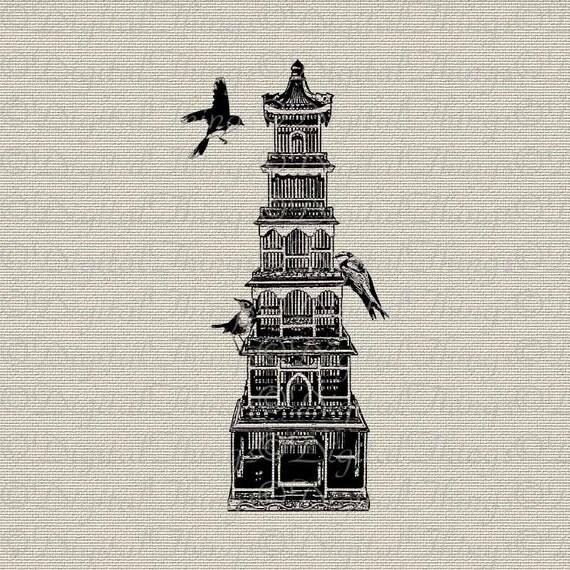 Birdcage and Birds Asian Art Japanese Pagoda Wall Decor Art Printable Digital Download for Iron on Transfer Tea Towel Fabric Pillows DT245