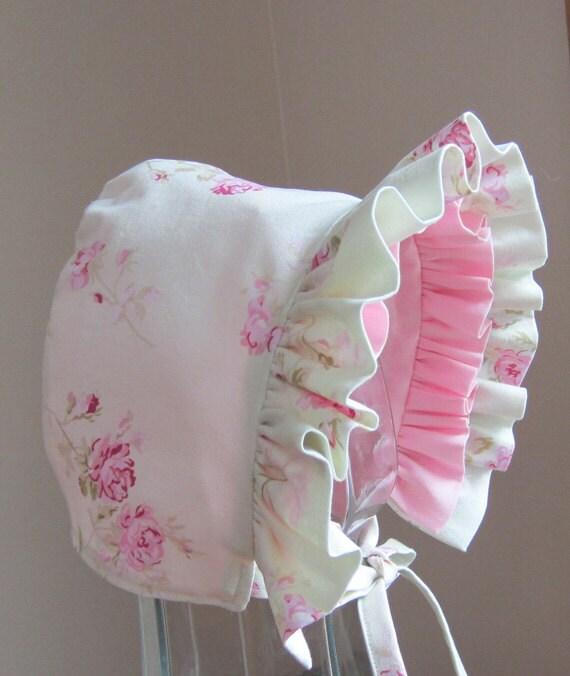 Baby Bonnet Shabby Chic Rose Pink Reversible