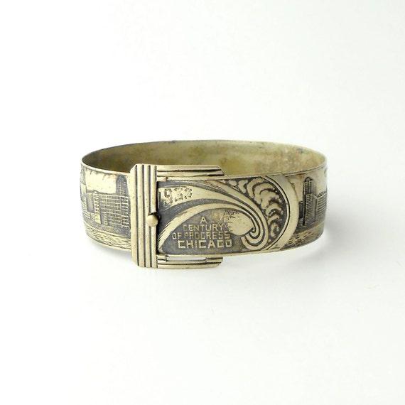 Art Deco Buckle Bracelet . Chicago Worlds Fair 1933 . Full Skyline with Zeppelins .