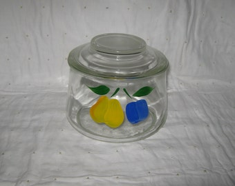 Glass Cookie Jar With Hand Painted Fruit