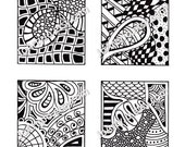 PDF Digital Collage Sheet, Black and White Images, Zentangle Inspired Art, PDF for Scrapbooking, Jewelry Making, Pendants, Sheet 5