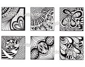 Zentangle Inspired Art Digital Collage Sheet, Instant Download 1 Inch Hand Drawn Square Images, Abstract Black and White Line Art, Sheet 6