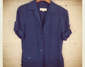 Blue Blazer Escada Short Sleeve