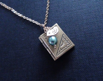 Clearance-Personalized Birthstones, Vintage Photo Book Locket, Freshwater Teal Pearl and Mini Skylark Charm - Necklace