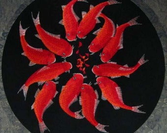 chinese art,chinese silk embroidery-12 fishes,silk wall hanging,embroidery art,home decor