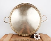 vintage large brass Hollywood Regency woven tray