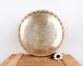 vintage brass faux bamboo large round tray