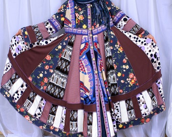 Custom Order Coat Elegant Boho Bohemian Hippie Gypsy Patchwork Sweater/Coat  with satin lining