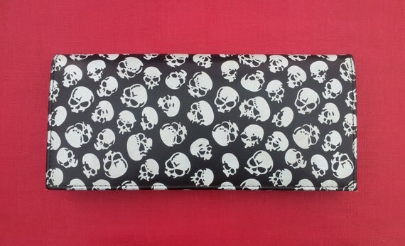Black Clutch Bag with White Sculls & Removable Strap Goth Rockabilly Alternative Punk