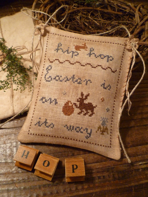 Items Similar To Easter Primitive Cross Stitch E Pattern