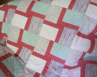 Floral Quilt, Multicolored Quilt, Striped Quilt, Pastel Quilt, Pink Quilt, Blue Quilt, Green Quilt, Teal Quilt