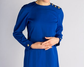 Upcycled vintage electric blue womens long sleeve mod dress size small