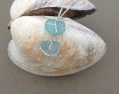 Two-Tone Sterling Blue Seaglass Necklace
