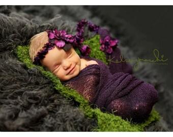 newborn photography prop,baby photo prop, very soft baby moss mini blanket in dark sage green,babyshower gift, grass rug 1'x1'