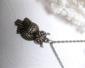 Bronze Owl Pendant Necklace