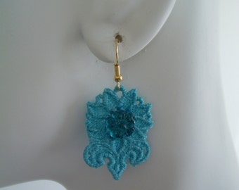SALE Turquoise Lace Flower Charm with Flower Jewel Center