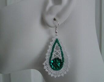 SALE White and Green Battenburg Teardrop Lace Charm Earrings