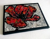"""Fabric mosaic quilt, on canvas, red rose, free-motion quilted, 8""""x10"""""""