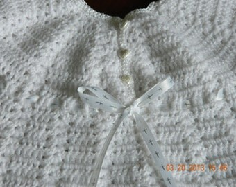 White Heirloom Christening GOWN/Dress/Crocheted/Ribbon with silver crosses/Perle cotton trim/Quality Paton yarn/Newborn/FREE SHIPPING
