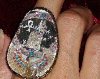 EGYPTIAN JEWELRY Ankh RING Eyptian Ancient Symbol Ring Oblong Glass Ring Hand Painted One Of A Kind BohoGypsyDesigns