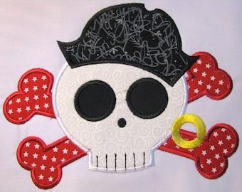Pirate Skull 01 Machine Applique Embroidery Design - Pirate Skull Applique - Applique Pirate Skull - Pirate Applique Design