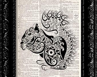 Art Deco Squirrel -  Vintage Dictionary Print Vintage Book Print Page Art Upcycled Vintage Book Art