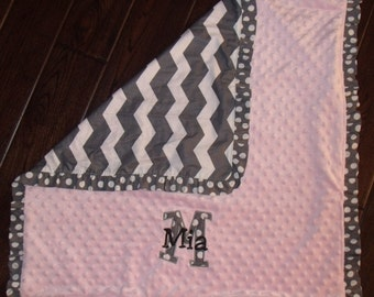 Boutique Girl's Gray Chevron Themed Carseat, Stroller or Lovey Blanket