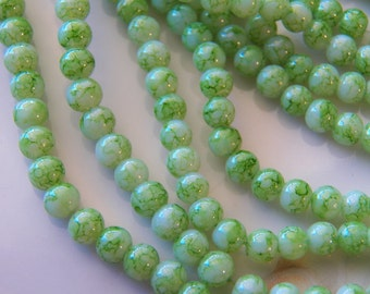 4mm Light Green Splatter Glass Beads, 100 PC (INDOC16)