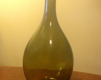 Wide Based Olive Green Colored Glass Bottle