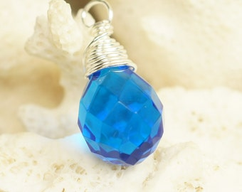 Wire Wrapped Blue Briolette Pendant Add Dangle Pendant Charm