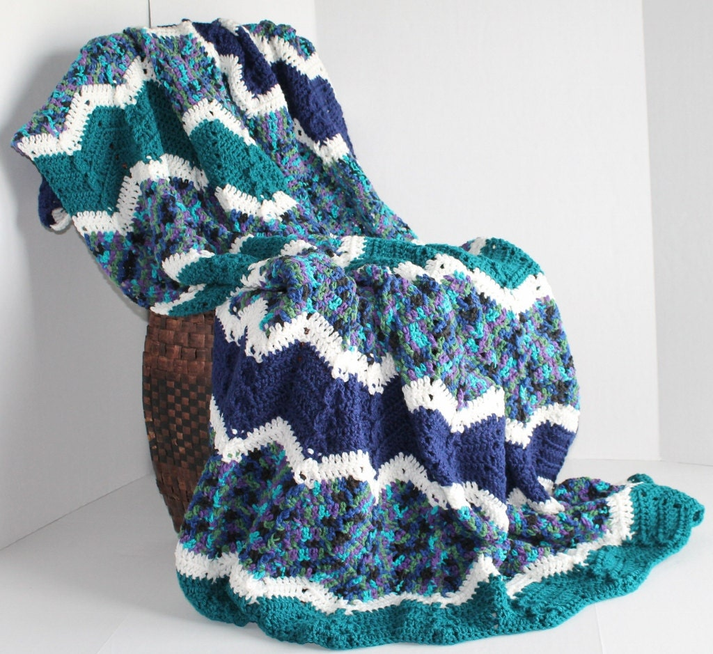 Afghan Handmade Ripple Crochet Blanket Peacock Blues And