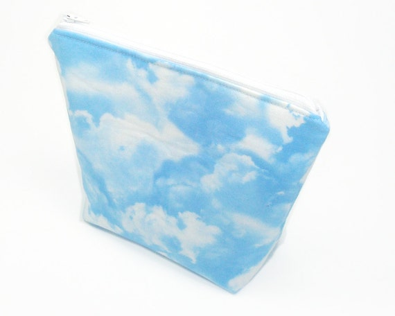 Blue sky cosmetic bag 8 inches clear day clouds zipper pouch