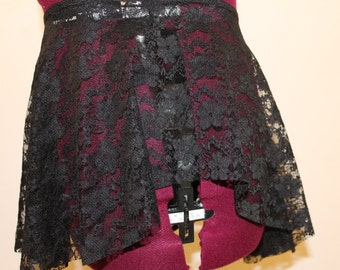 Black Lace SAB Ballet Skirt With Small Flowers