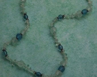 Shades of Blue Recycled Glass from Guana with Flourite and Glass Beads Long Necklace