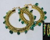 Beaded Wire Crocheted Hoop Earrings, Wire Crochet Earring, Gemstone Beaded Hoop Earrings, Crochet Wire Jewelry, Malachite, Green