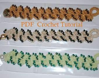 PDF Crocheted Bracelet Tutorial, How to make a wavy crochet bracelet, Wavy Crochet Beaded Bracelet Pattern