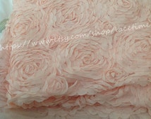 Large Rose Lace Fabric, Light Pink Lace, Floral Lace, Chiffon 3D Lace, Apparel Fabric Lace One Yard