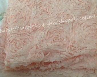 Large Rose Lace Fabric, Light Pink Lace, Floral Lace, Chiffon 3D Lace, Apparel Fabric Lace One Yard