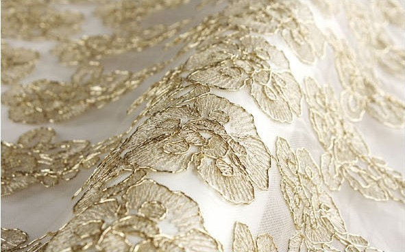 Gold Lace Fabric Bridal Lace Fabric Wedding Gown Lace