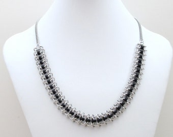 Black beaded chainmaille necklace, Centipede weave