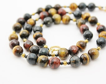 tigers eye necklace beaded gemstone necklace with golden pyrite and black agate  dark red gold black