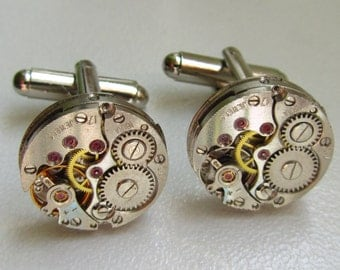 Steampunk Cufflinks with the smallest round vintage watch movements. Vintage upcycled mens Cuff Links, Gift under 30 Dollars