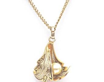Pearls Pendant, Black Enamel Pendant, Leaf Pendant, UK Seller
