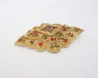 Vintage Large Brooch, Goldtone Brooch with Multicolour Rhinestone, UK Seller