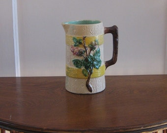 Antique Majolica Pitcher Branch with Leaves and Flowers Bark Handle Aqua Interior
