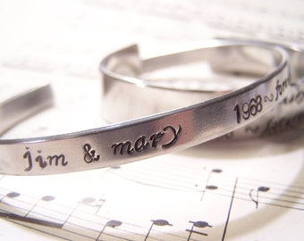 April Special Set of His and Hers Personalized Bracelets, Anniversary Gift, Hand Stamped Couple gift, His and hers Bracelets, Wedding Gift